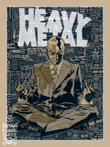 "San Diego Comic-Con 2015 Exclusive Grant Morrison x Heavy Metal x Brian Ewing ""Hail to the Chief"" Standard Edtion Screen Print"