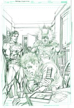 Neal Adams variant cover pencils to Batman Superman #29