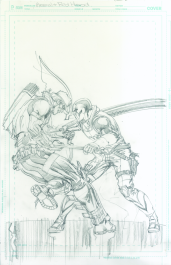 Neal Adams variant cover pencils to Red Hood and Arsenal #9